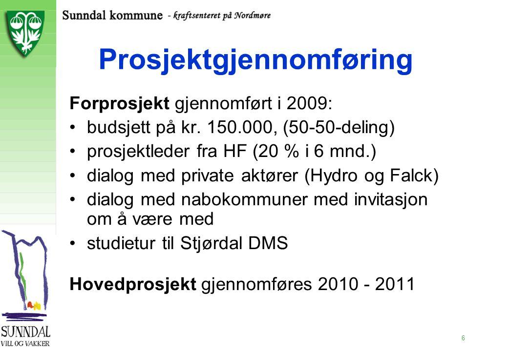 6 Prosjektgjennomføring Forprosjekt gjennomført i 2009: budsjett på kr. 150.000, (50-50-deling) prosjektleder fra HF (20 % i 6 mnd.) dialog med privat