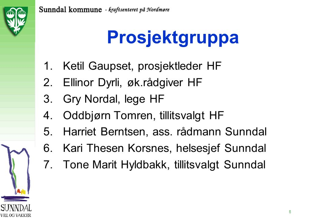 8 Prosjektgruppa 1.Ketil Gaupset, prosjektleder HF 2.Ellinor Dyrli, øk.rådgiver HF 3.Gry Nordal, lege HF 4.Oddbjørn Tomren, tillitsvalgt HF 5.Harriet