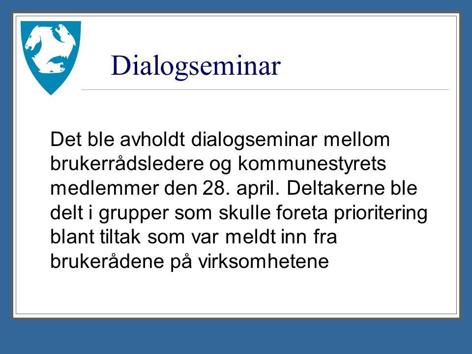 Dialogseminar Det ble avholdt dialogseminar mellom brukerrådsledere og kommunestyrets medlemmer den 28.