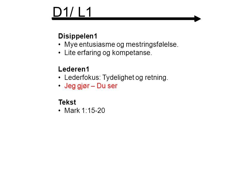 D1/ L1 Disippelen1 Mye entusiasme og mestringsfølelse.