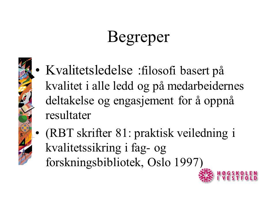 Begreper Kvalitetsledelse : filosofi basert på kvalitet i alle ledd og på medarbeidernes deltakelse og engasjement for å oppnå resultater (RBT skrifter 81: praktisk veiledning i kvalitetssikring i fag- og forskningsbibliotek, Oslo 1997)