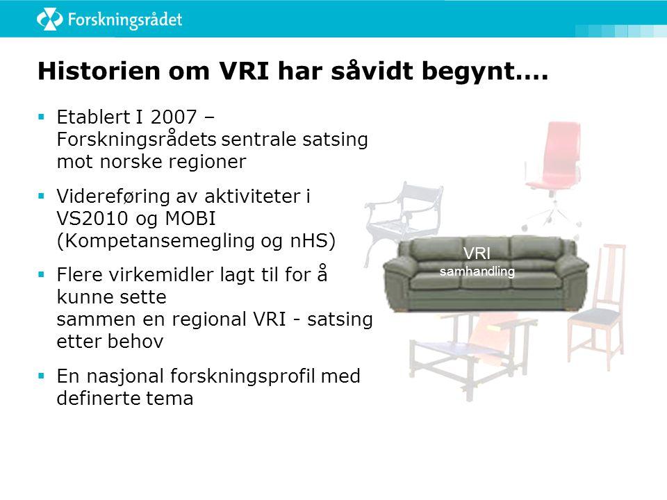 Dagens VRI og regionale forskningsfond er komplementære ordninger VRI mobiliserer bedrifter til forskning.