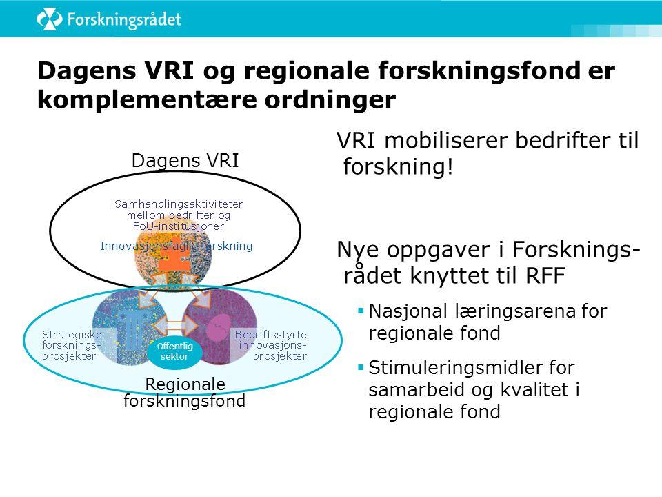 Implementering av RFF I ForskningsrådetI Fylkeskommunene (KS ) Utarbeide retningslinjer for søknadsbehandlingen Avtaler mellom aktørene Utarbeide og selv godkjenne veiledningsmateriell som:  kontraktsmaler  utlysningsmaler  rapporteringsmaler  habilitetsregler Utvikle IKT-modul for å kunne håndtere RFF-søknader elektronisk Tilrettelegge vårt fagekspert- panelsystem for søknader fra RFF Utvikle prosedyrer for behandling av søknader til konkurranse/ samhandlingspotten på 15% Læringsarena