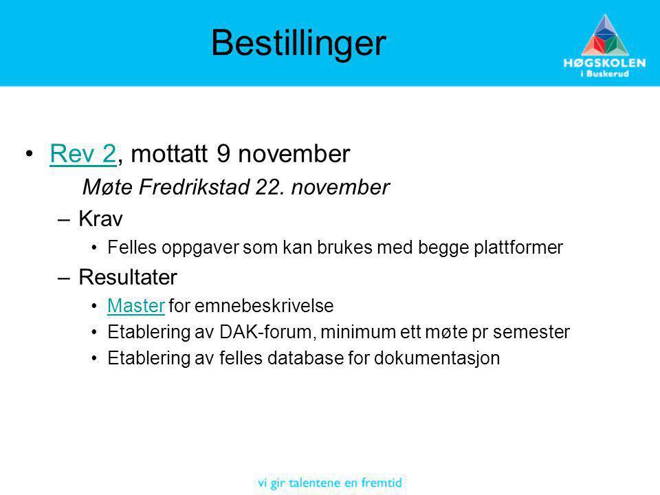 Bestillinger Rev 2, mottatt 9 novemberRev 2 Møte Fredrikstad 22. november –Krav Felles oppgaver som kan brukes med begge plattformer –Resultater Maste