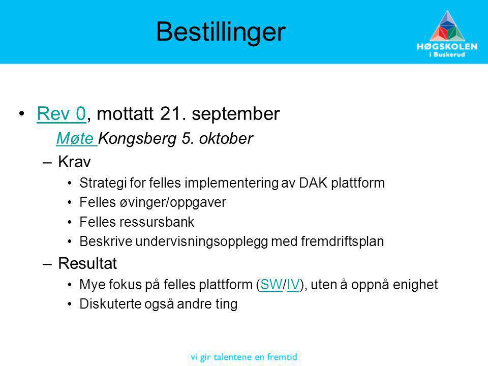 Bestillinger Rev 0, mottatt 21. septemberRev 0 Møte Kongsberg 5. oktoberMøte –Krav Strategi for felles implementering av DAK plattform Felles øvinger/