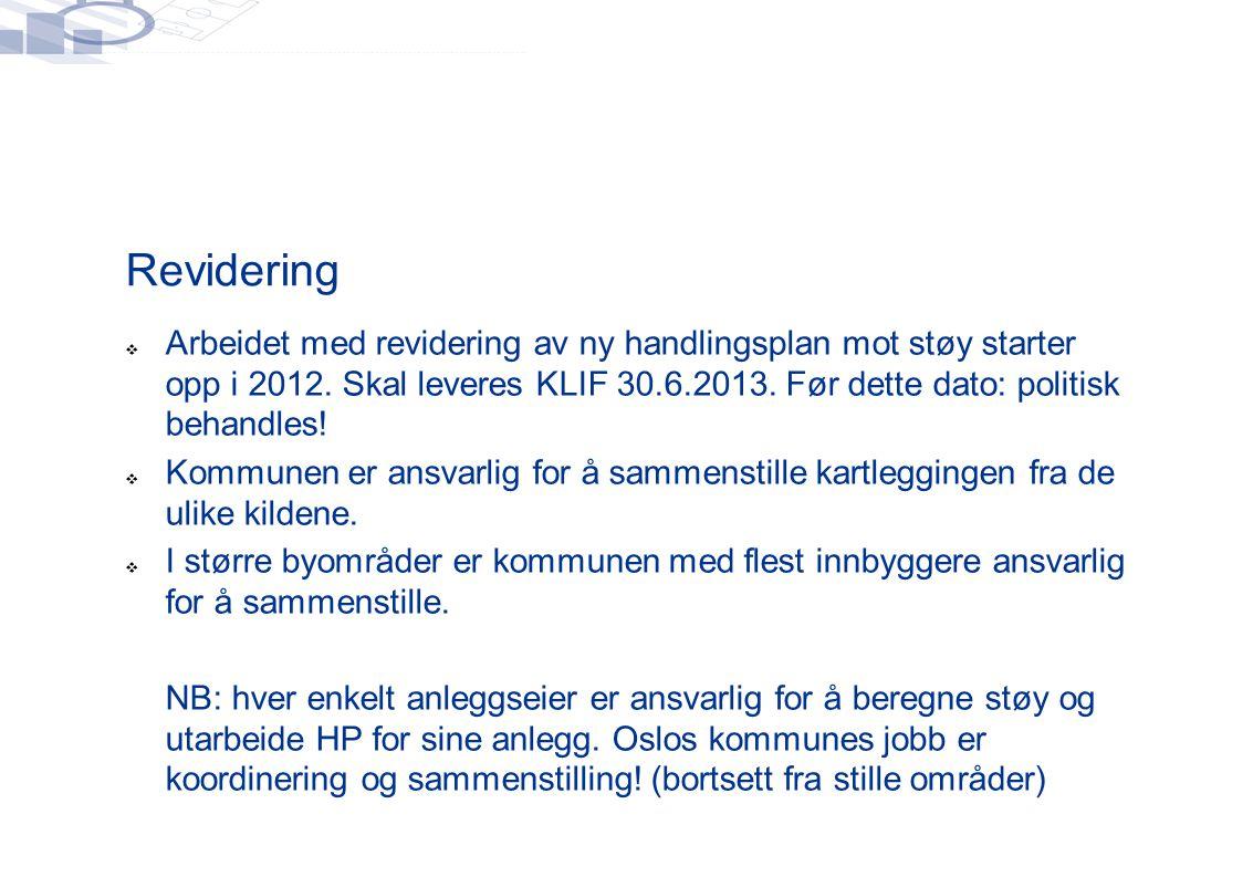 Revidering  Arbeidet med revidering av ny handlingsplan mot støy starter opp i 2012.