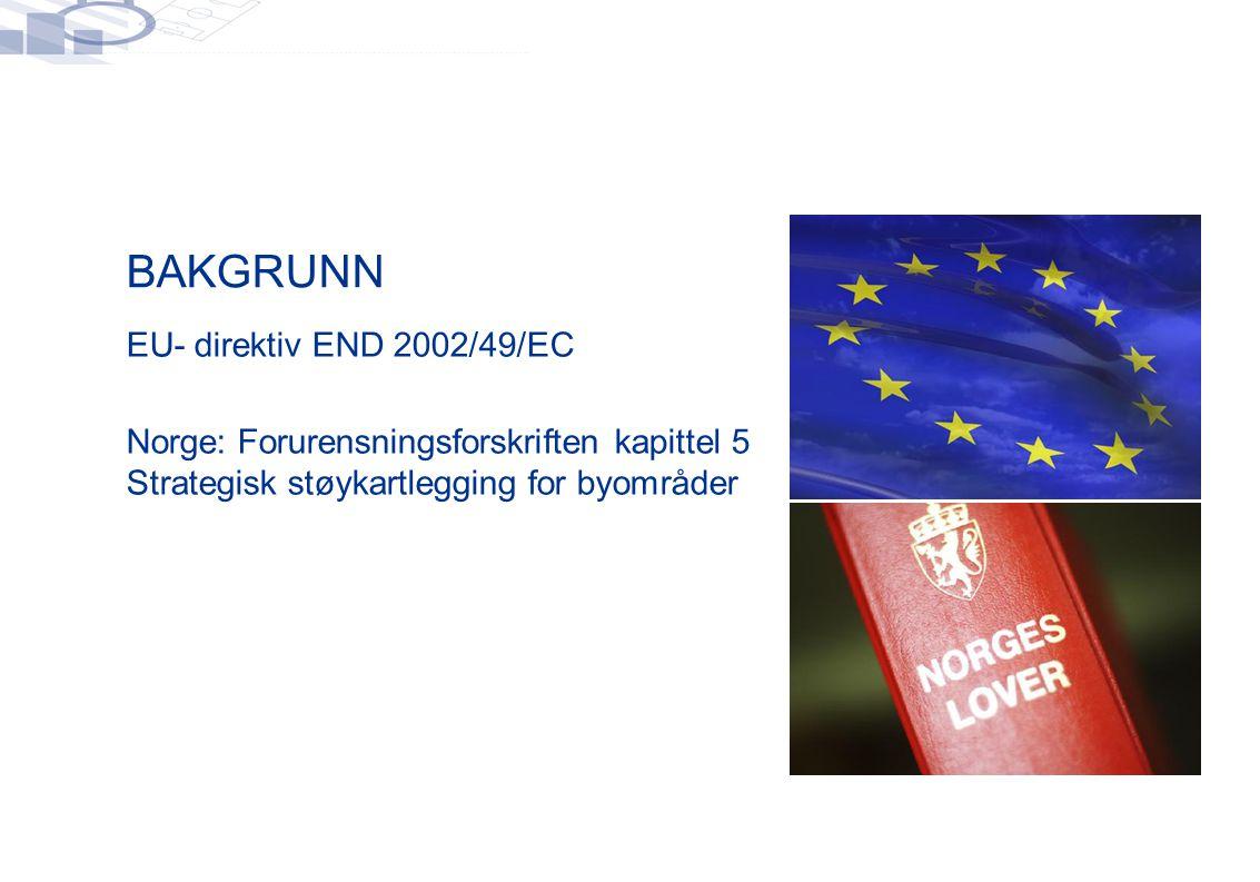 BAKGRUNN  EU- direktiv END 2002/49/EC  Norge: Forurensningsforskriften kapittel 5 Strategisk støykartlegging for byområder