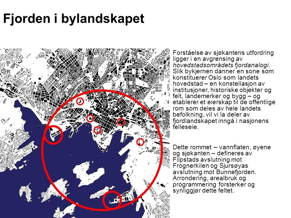 Fjorden i bylandskapet Forståelse av sjøkantens utfordring ligger i en avgrensing av hovedstadsområdets fjordanalogi. Slik bykjernen danner en sone so
