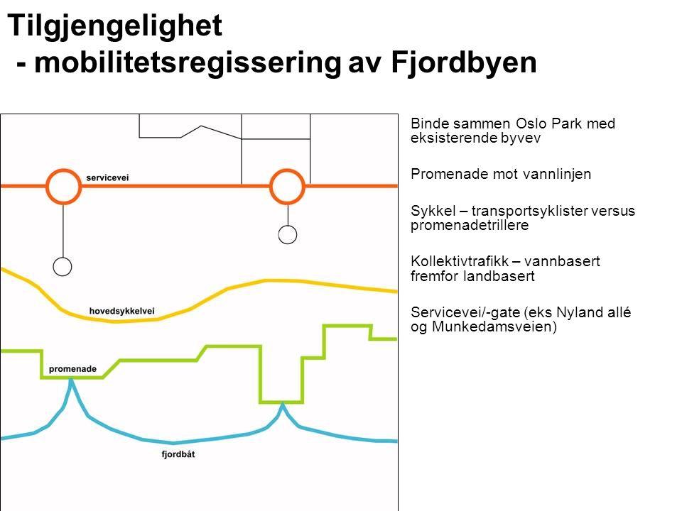 Tilgjengelighet - mobilitetsregissering av Fjordbyen Binde sammen Oslo Park med eksisterende byvev Promenade mot vannlinjen Sykkel – transportsyklister versus promenadetrillere Kollektivtrafikk – vannbasert fremfor landbasert Servicevei/-gate (eks Nyland allé og Munkedamsveien)