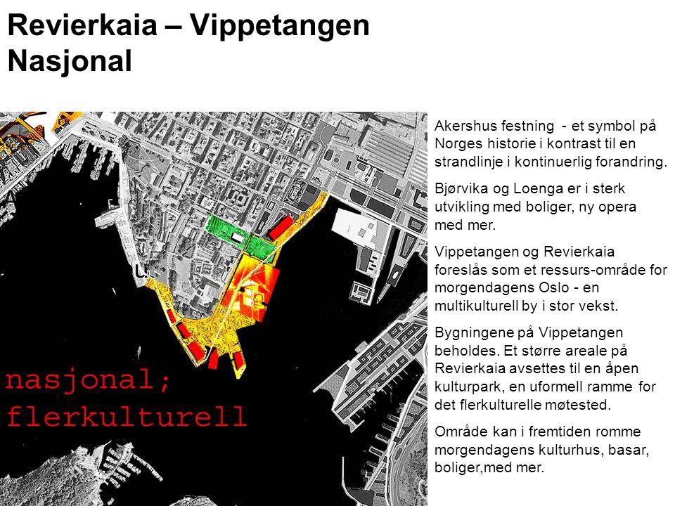 Revierkaia – Vippetangen Nasjonal Akershus festning - et symbol på Norges historie i kontrast til en strandlinje i kontinuerlig forandring. Bjørvika o