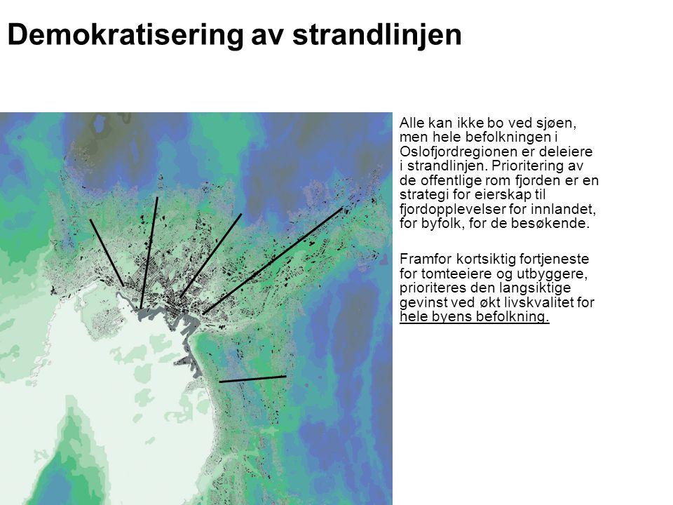 Demokratisering av strandlinjen Alle kan ikke bo ved sjøen, men hele befolkningen i Oslofjordregionen er deleiere i strandlinjen. Prioritering av de o