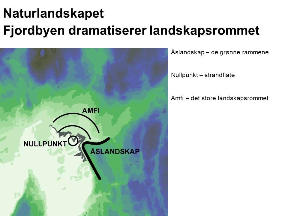 Naturlandskapet Fjordbyen dramatiserer landskapsrommet Åslandskap – de grønne rammene Nullpunkt – strandflate Amfi – det store landskapsrommet