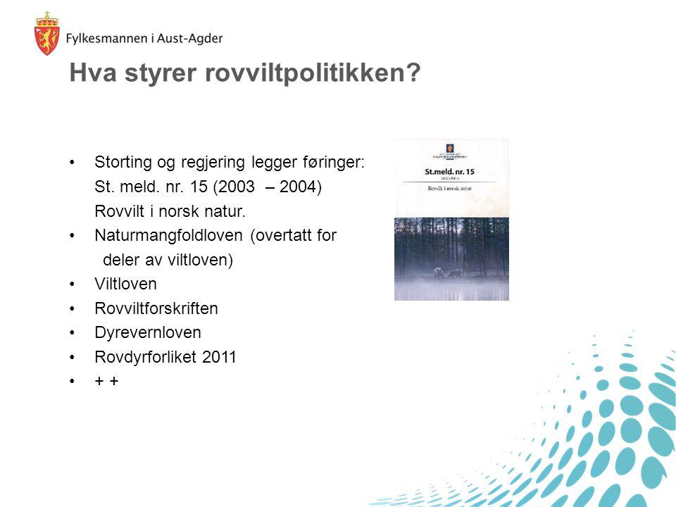 Hva styrer rovviltpolitikken? Storting og regjering legger føringer: St. meld. nr. 15 (2003 – 2004) Rovvilt i norsk natur. Naturmangfoldloven (overtat