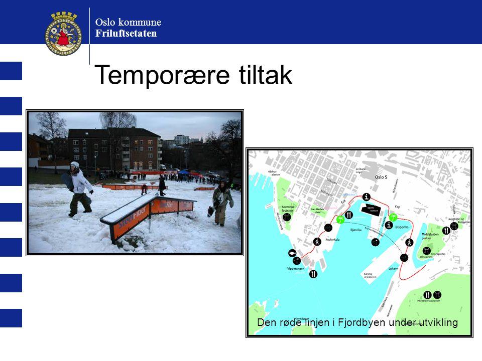 Oslo kommune Friluftsetaten Temporære tiltak Den røde linjen i Fjordbyen under utvikling