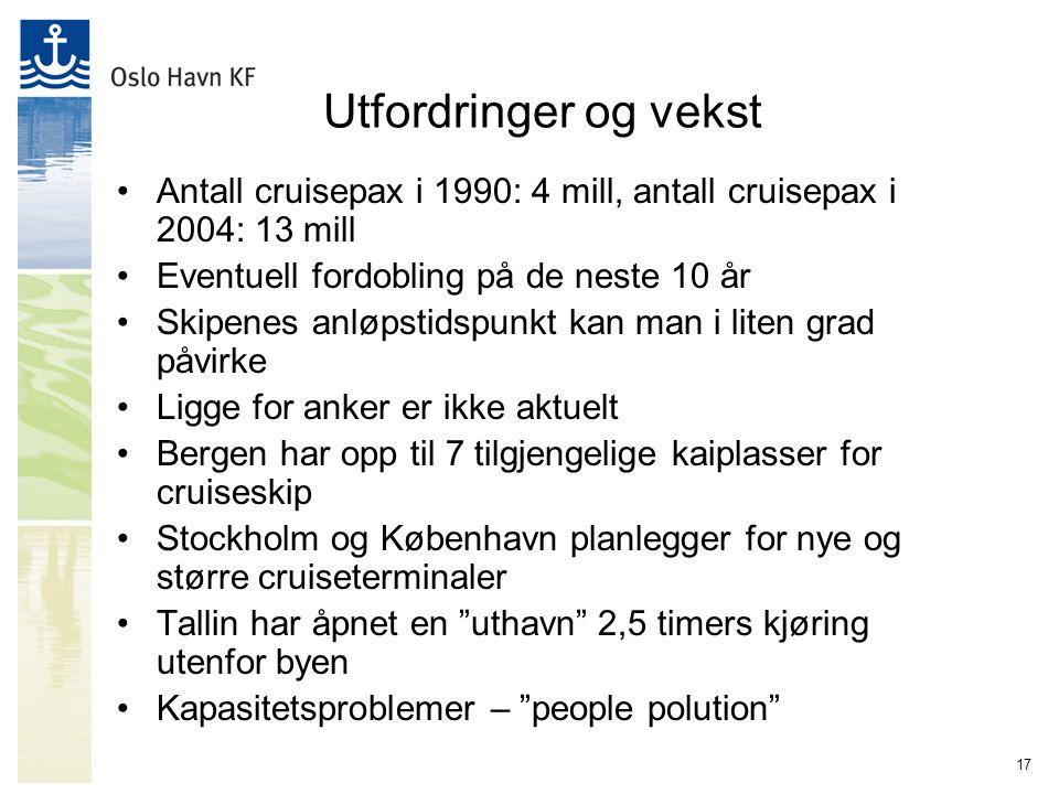 17 Utfordringer og vekst Antall cruisepax i 1990: 4 mill, antall cruisepax i 2004: 13 mill Eventuell fordobling på de neste 10 år Skipenes anløpstidspunkt kan man i liten grad påvirke Ligge for anker er ikke aktuelt Bergen har opp til 7 tilgjengelige kaiplasser for cruiseskip Stockholm og København planlegger for nye og større cruiseterminaler Tallin har åpnet en uthavn 2,5 timers kjøring utenfor byen Kapasitetsproblemer – people polution