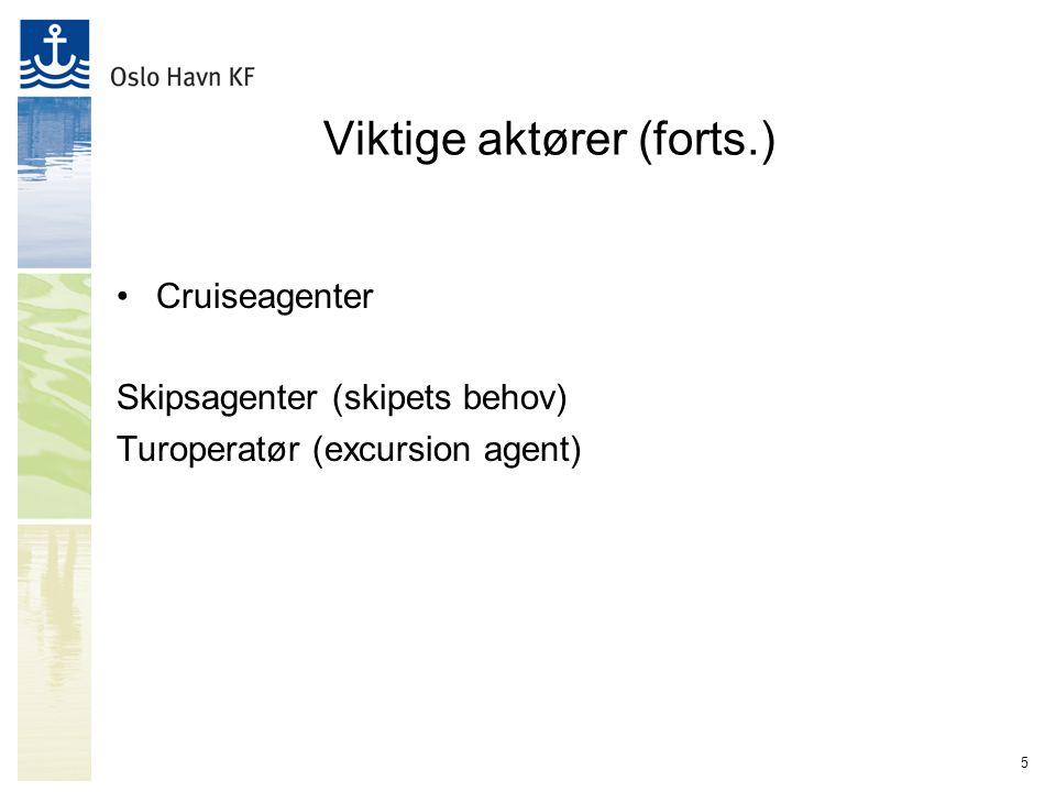 5 Viktige aktører (forts.) Cruiseagenter Skipsagenter (skipets behov) Turoperatør (excursion agent)