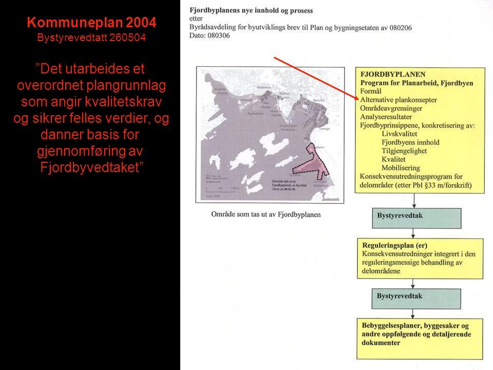 """Kommuneplan 2004 Bystyrevedtatt 260504 """"Det utarbeides et overordnet plangrunnlag som angir kvalitetskrav og sikrer felles verdier, og danner basis fo"""