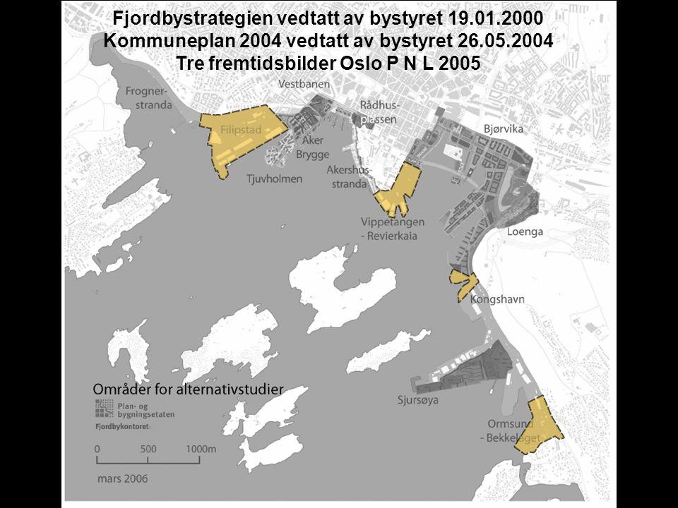 Fjordbystrategien vedtatt av bystyret 19.01.2000 Kommuneplan 2004 vedtatt av bystyret 26.05.2004 Tre fremtidsbilder Oslo P N L 2005