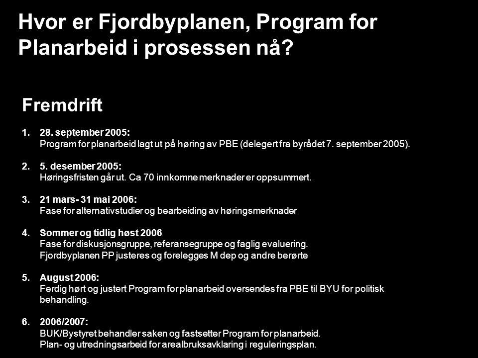 Hvor er Fjordbyplanen, Program for Planarbeid i prosessen nå? Fremdrift 1.28. september 2005: Program for planarbeid lagt ut på høring av PBE (deleger
