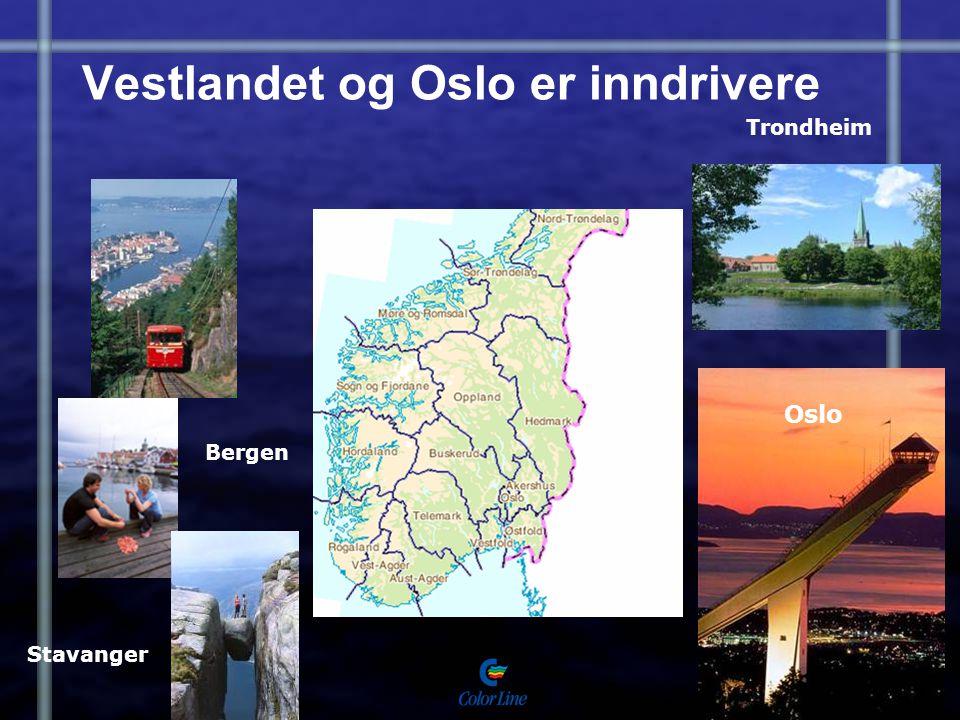 Vestlandet og Oslo er inndrivere Stavanger Bergen Oslo Trondheim