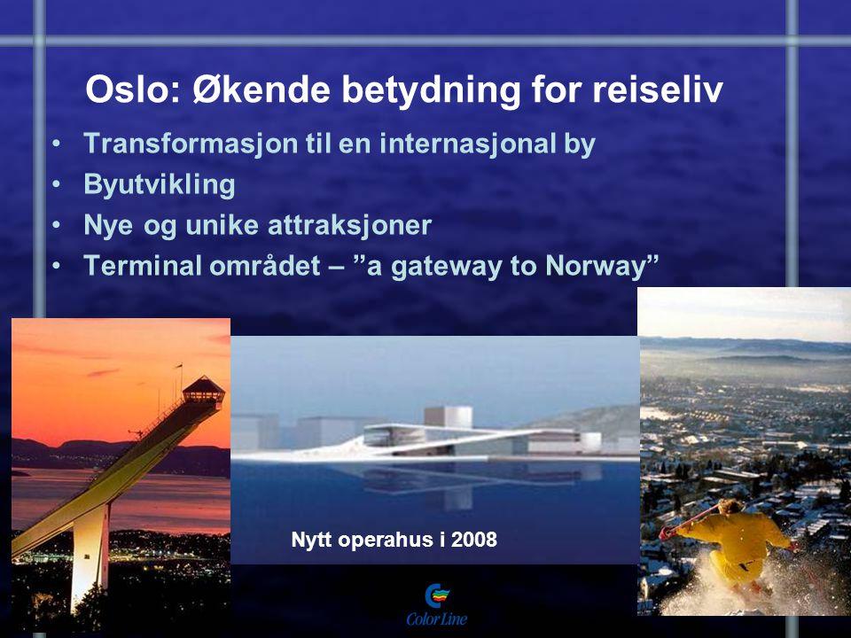 """Oslo: Økende betydning for reiseliv Transformasjon til en internasjonal by Byutvikling Nye og unike attraksjoner Terminal området – """"a gateway to Norw"""