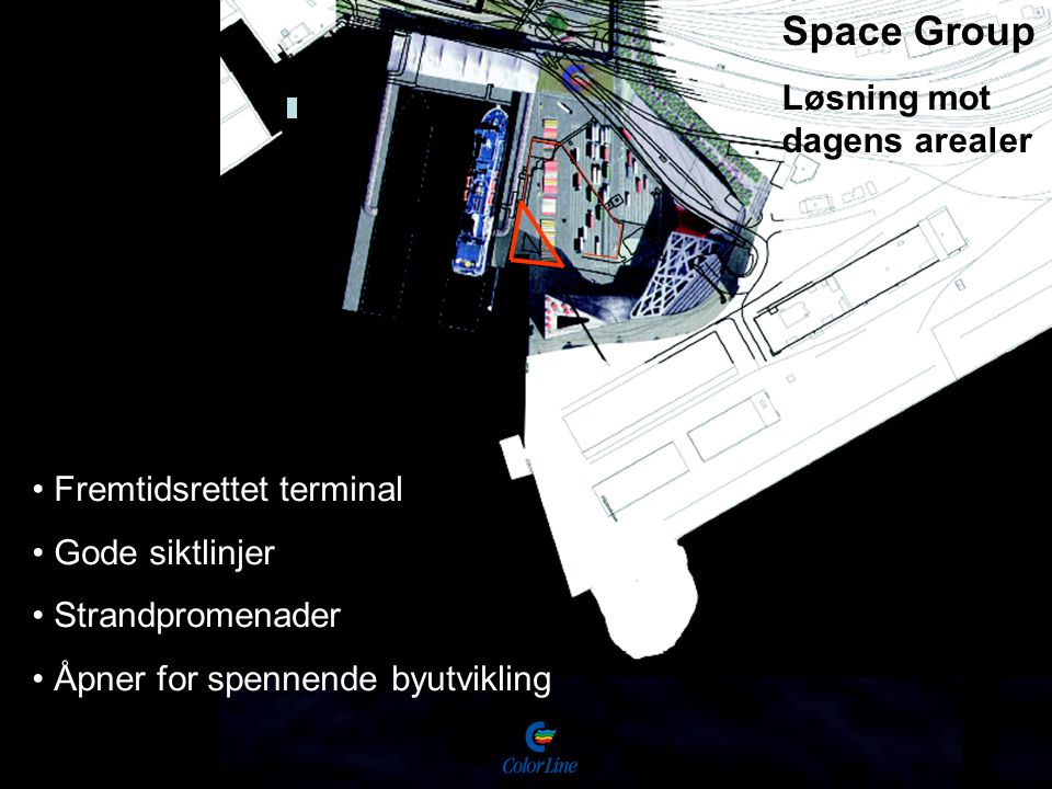Space Group Løsning mot dagens arealer Fremtidsrettet terminal Gode siktlinjer Strandpromenader Åpner for spennende byutvikling