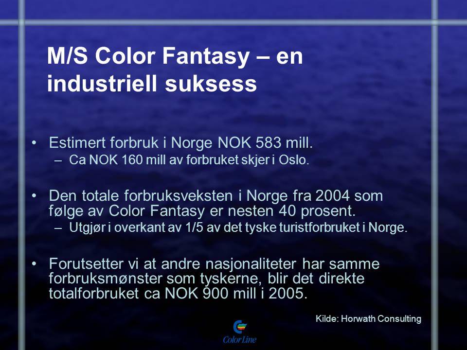 M/S Color Fantasy – en industriell suksess Estimert forbruk i Norge NOK 583 mill. –Ca NOK 160 mill av forbruket skjer i Oslo. Den totale forbruksvekst