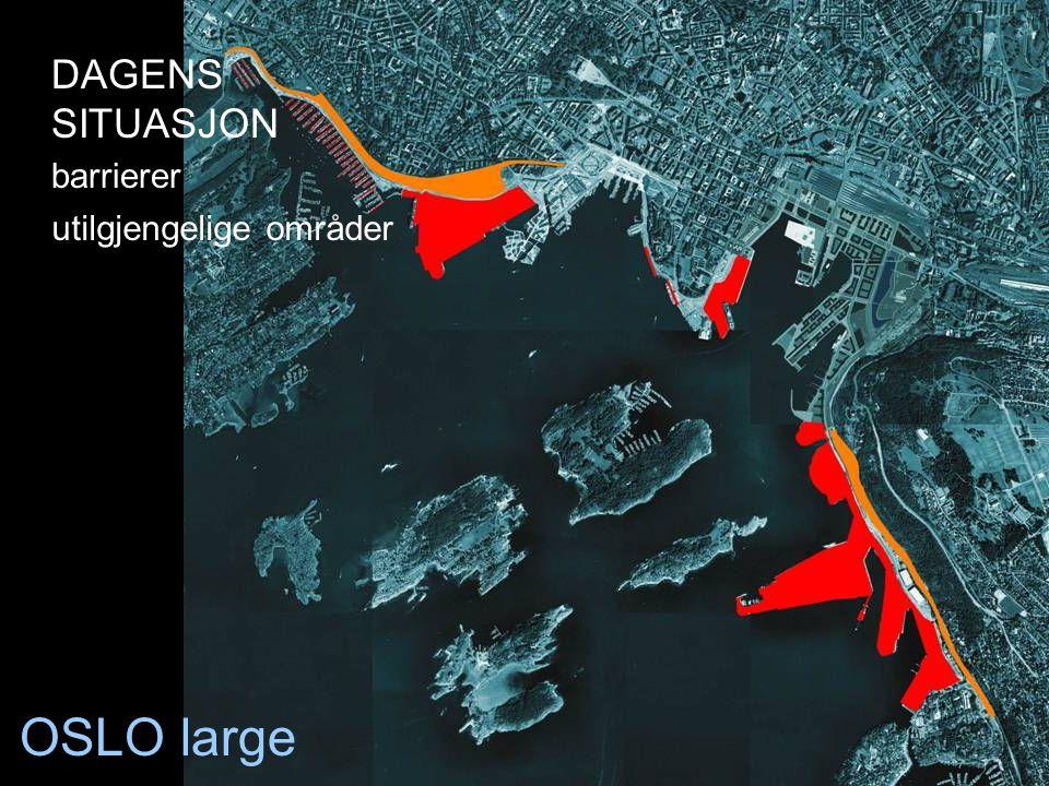 OSLO large utilgjengelige områder DAGENS SITUASJON barrierer