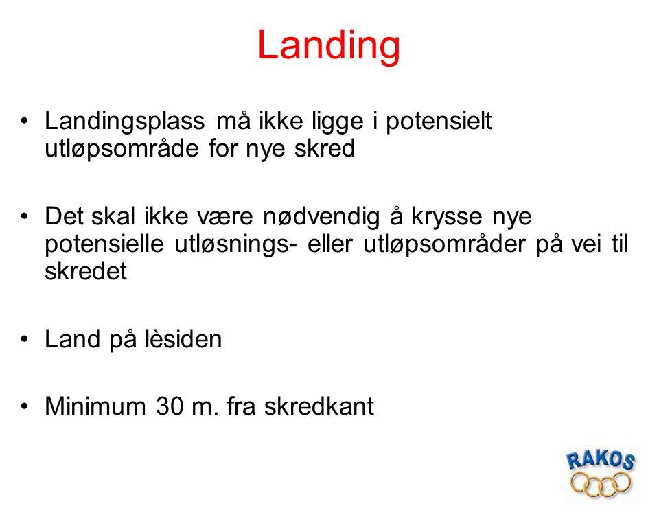 Landing Landingsplass må ikke ligge i potensielt utløpsområde for nye skred Det skal ikke være nødvendig å krysse nye potensielle utløsnings- eller ut