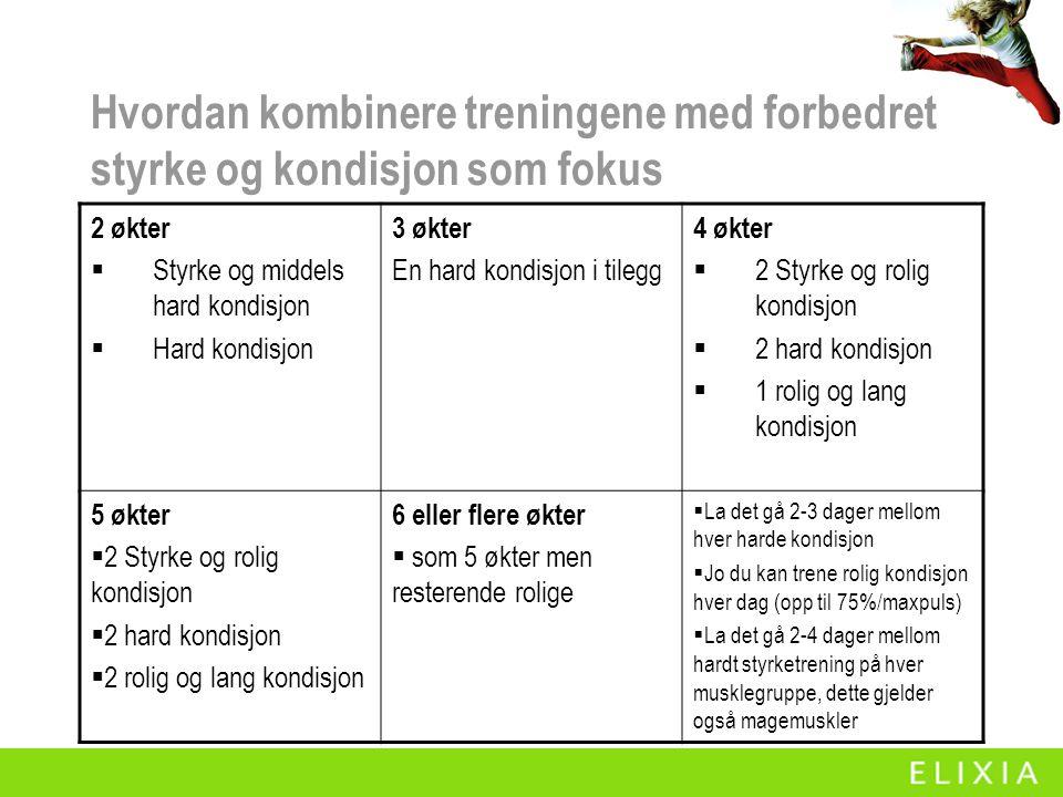 Hvordan kombinere treningene med forbedret styrke og kondisjon som fokus 2 økter  Styrke og middels hard kondisjon  Hard kondisjon 3 økter En hard k