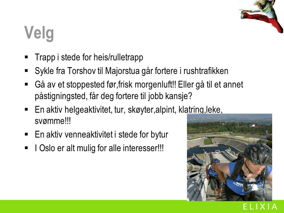 Velg  Trapp i stede for heis/rulletrapp  Sykle fra Torshov til Majorstua går fortere i rushtrafikken  Gå av et stoppested før,frisk morgenluft!! El