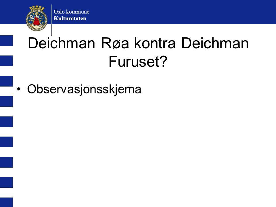 Oslo kommune Kulturetaten Deichman Røa kontra Deichman Furuset? Observasjonsskjema