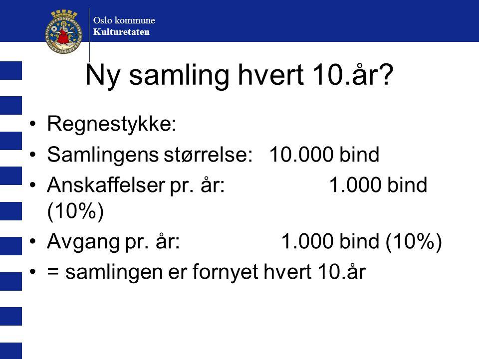 Oslo kommune Kulturetaten Ny samling hvert 10.år? Regnestykke: Samlingens størrelse:10.000 bind Anskaffelser pr. år: 1.000 bind (10%) Avgang pr. år: