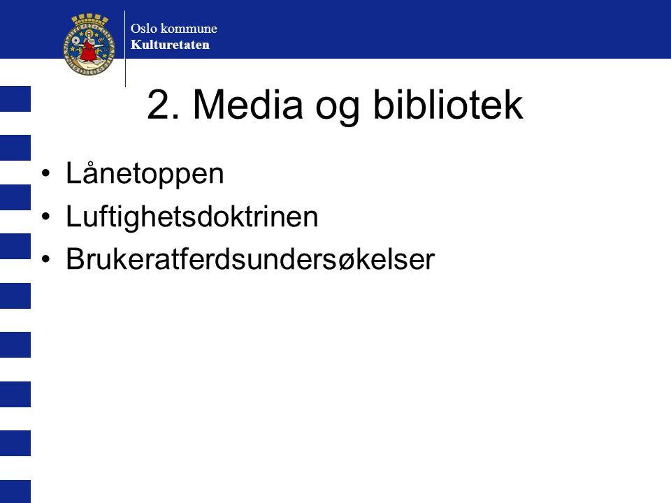 Oslo kommune Kulturetaten 2. Media og bibliotek Lånetoppen Luftighetsdoktrinen Brukeratferdsundersøkelser