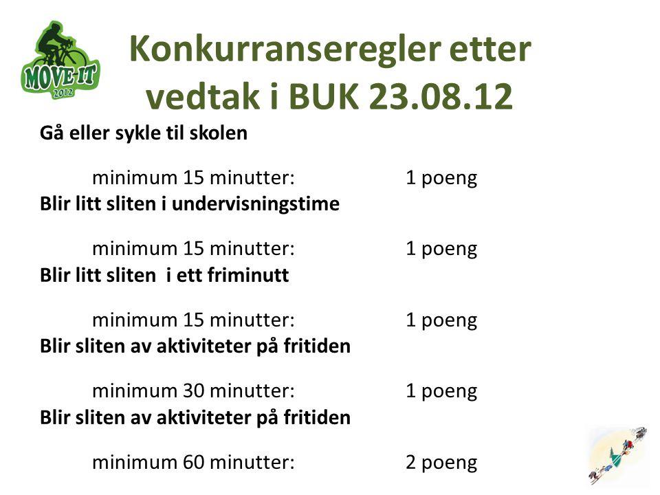 Konkurranseregler etter vedtak i BUK 23.08.12 Gå eller sykle til skolen minimum 15 minutter: 1 poeng Blir litt sliten i undervisningstime minimum 15 m