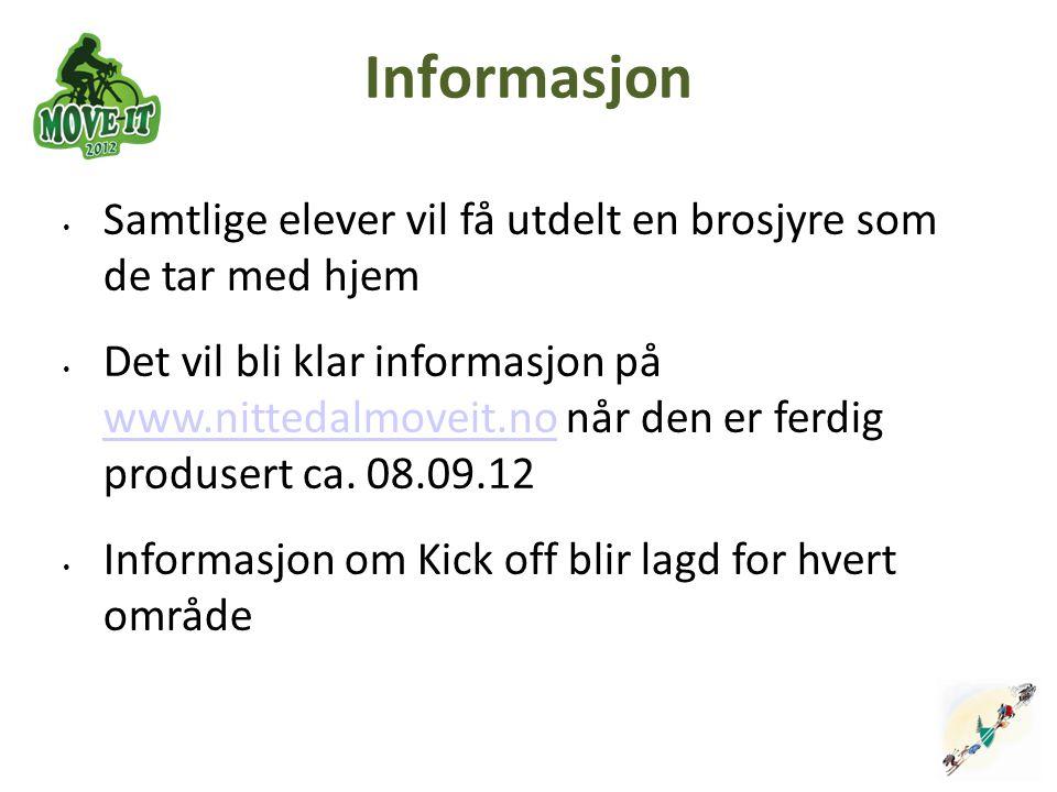Informasjon Samtlige elever vil få utdelt en brosjyre som de tar med hjem Det vil bli klar informasjon på www.nittedalmoveit.no når den er ferdig prod