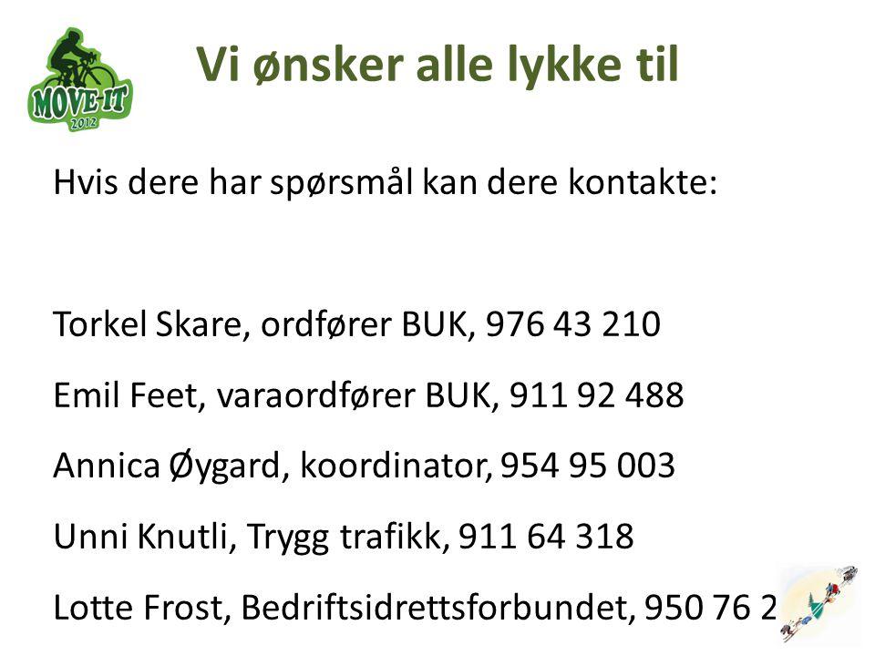 Vi ønsker alle lykke til Hvis dere har spørsmål kan dere kontakte: Torkel Skare, ordfører BUK, 976 43 210 Emil Feet, varaordfører BUK, 911 92 488 Anni