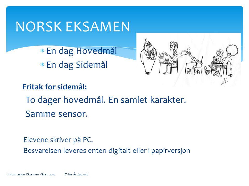 Elevene skriver på PC Besvarelsen leveres enten digitalt eller i papirversjon Informasjon Eksamen Våren 2012 Trine Årstadvold EKSAMEN ENGELSK