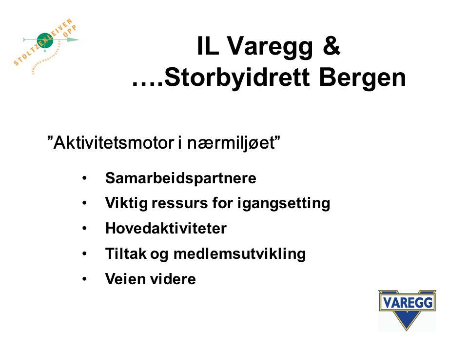 IL Varegg & ….Storbyidrett Bergen Aktivitetsmotor i nærmiljøet Samarbeidspartnere Viktig ressurs for igangsetting Hovedaktiviteter Tiltak og medlemsutvikling Veien videre