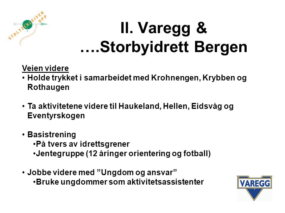 Il. Varegg & ….Storbyidrett Bergen Veien videre Holde trykket i samarbeidet med Krohnengen, Krybben og Rothaugen Ta aktivitetene videre til Haukeland,