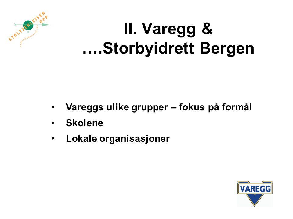 Il. Varegg & ….Storbyidrett Bergen Vareggs ulike grupper – fokus på formål Skolene Lokale organisasjoner