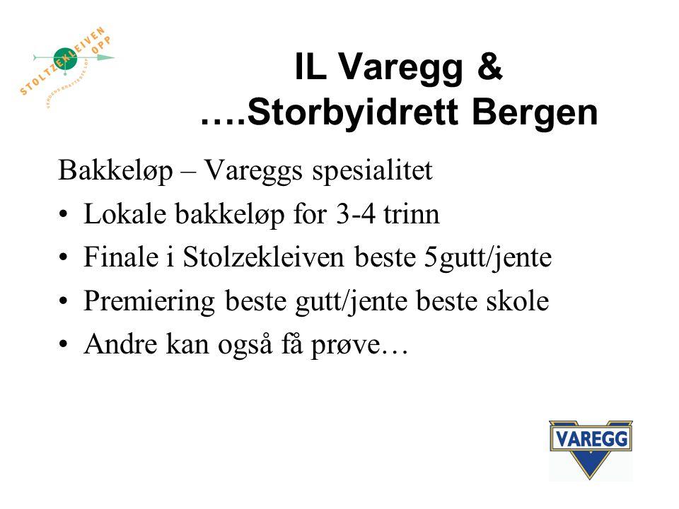 IL Varegg & ….Storbyidrett Bergen Bakkeløp – Vareggs spesialitet Lokale bakkeløp for 3-4 trinn Finale i Stolzekleiven beste 5gutt/jente Premiering beste gutt/jente beste skole Andre kan også få prøve…