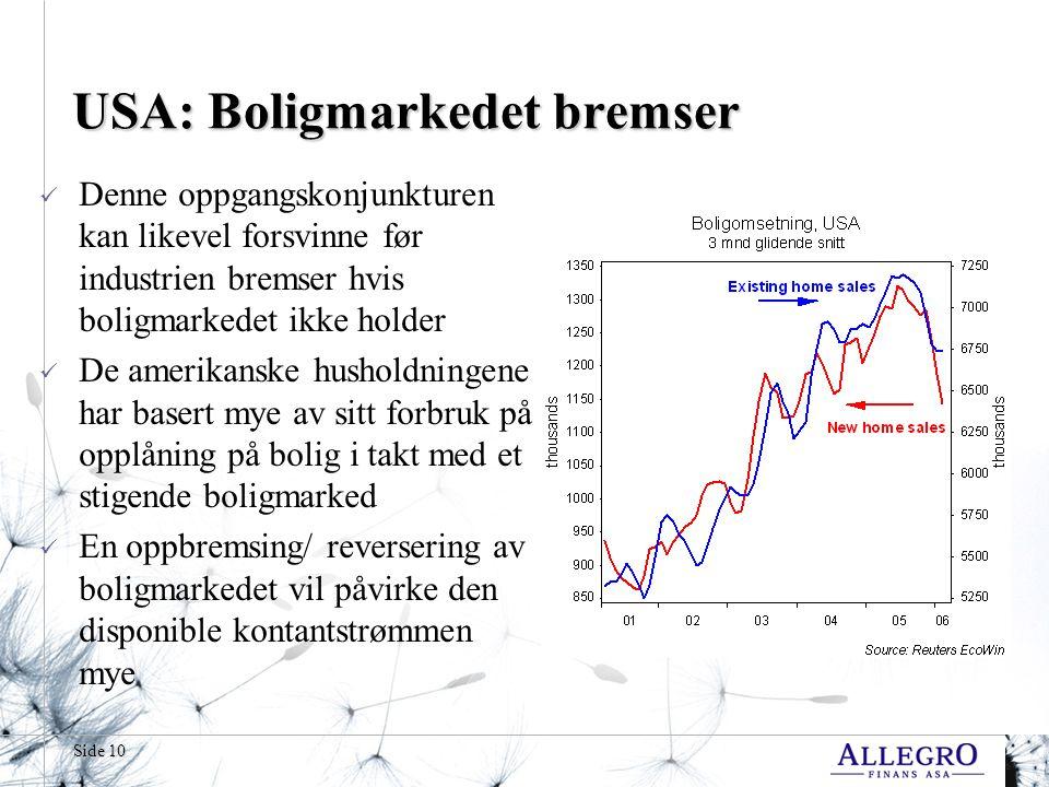 Side 10 USA: Boligmarkedet bremser Denne oppgangskonjunkturen kan likevel forsvinne før industrien bremser hvis boligmarkedet ikke holder De amerikans