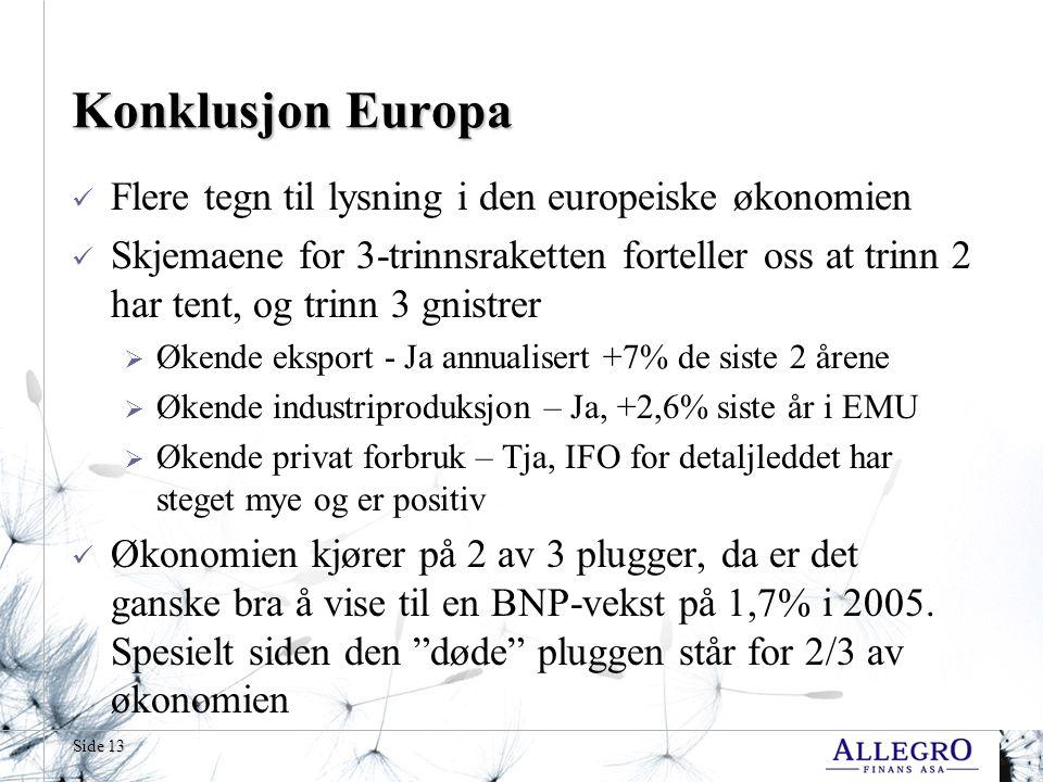 Side 13 Konklusjon Europa Flere tegn til lysning i den europeiske økonomien Skjemaene for 3-trinnsraketten forteller oss at trinn 2 har tent, og trinn 3 gnistrer  Økende eksport - Ja annualisert +7% de siste 2 årene  Økende industriproduksjon – Ja, +2,6% siste år i EMU  Økende privat forbruk – Tja, IFO for detaljleddet har steget mye og er positiv Økonomien kjører på 2 av 3 plugger, da er det ganske bra å vise til en BNP-vekst på 1,7% i 2005.
