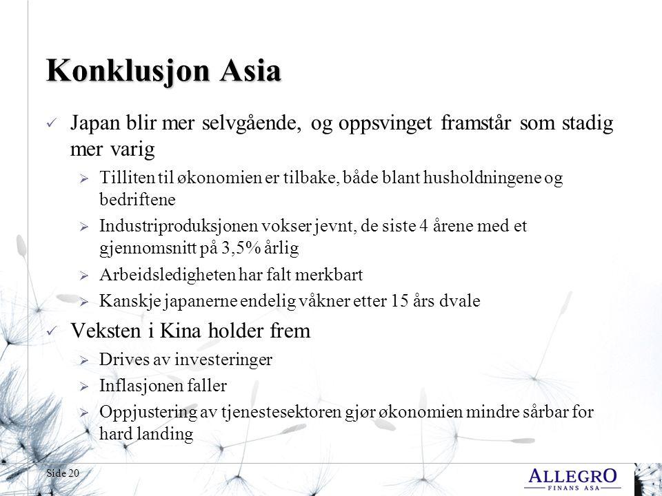 Side 20 Konklusjon Asia Japan blir mer selvgående, og oppsvinget framstår som stadig mer varig  Tilliten til økonomien er tilbake, både blant hushold