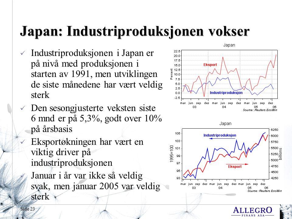 Side 23 Japan: Industriproduksjonen vokser Industriproduksjonen i Japan er på nivå med produksjonen i starten av 1991, men utviklingen de siste månedene har vært veldig sterk Den sesongjusterte veksten siste 6 mnd er på 5,3%, godt over 10% på årsbasis Eksportøkningen har vært en viktig driver på industriproduksjonen Januar i år var ikke så veldig svak, men januar 2005 var veldig sterk