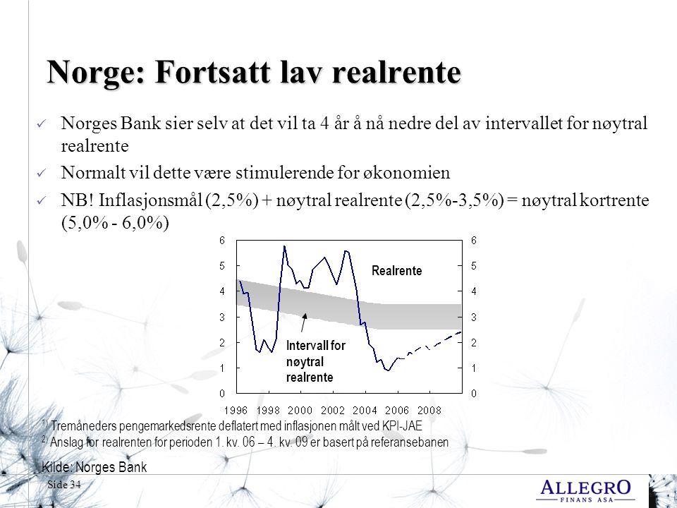 Side 34 Norge: Fortsatt lav realrente Norges Bank sier selv at det vil ta 4 år å nå nedre del av intervallet for nøytral realrente Normalt vil dette v