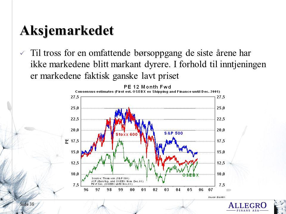 Side 38 Aksjemarkedet Til tross for en omfattende børsoppgang de siste årene har ikke markedene blitt markant dyrere. I forhold til inntjeningen er ma