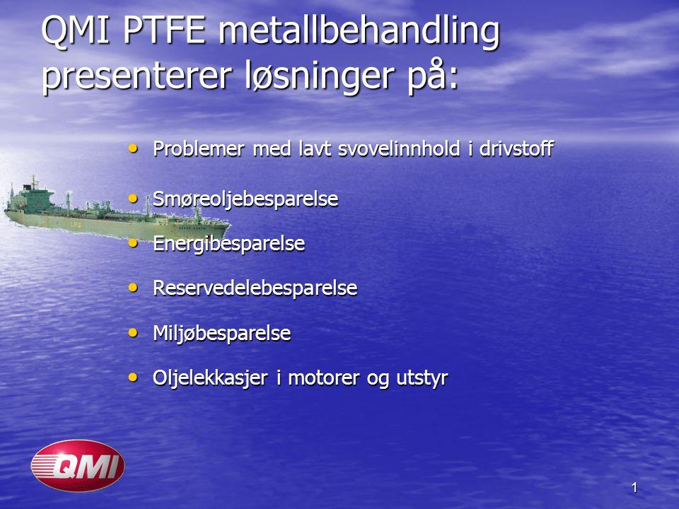 1 QMI PTFE metallbehandling presenterer løsninger på: Problemer med lavt svovelinnhold i drivstoff Problemer med lavt svovelinnhold i drivstoff Smøreo