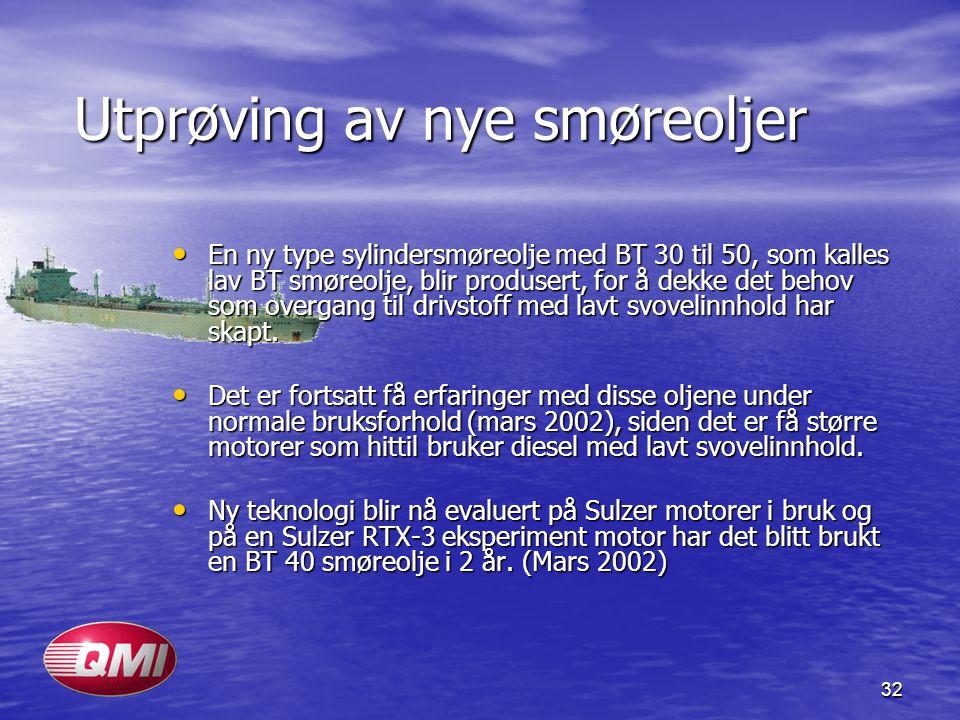 32 Utprøving av nye smøreoljer En ny type sylindersmøreolje med BT 30 til 50, som kalles lav BT smøreolje, blir produsert, for å dekke det behov som o